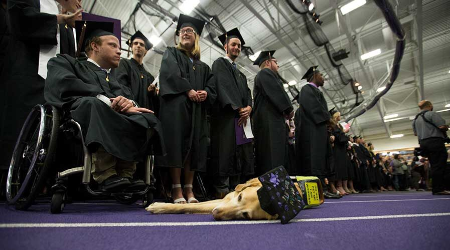 Photo of Victor, the service dog of communication major Elizabeth Fideler, enjoying a nap during commencement, held on Saturday, May 19, 2018.
