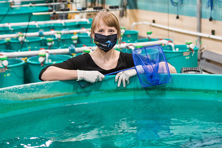 Photo of Emma Kraco, who worked in aquaculture for several years before deciding to go to college. UWM's Freshwater Sciences program attracted her to the university. (UWM Photo/Elora Hennessey)