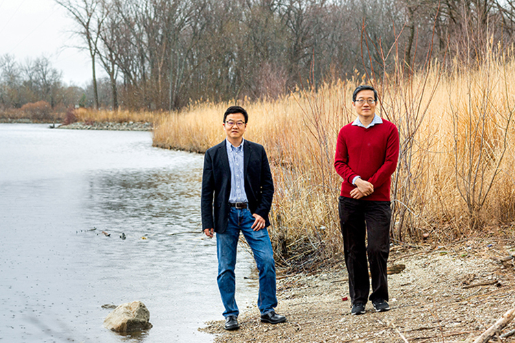 Photo of Qian Liao (left), associate professor of civil engineering, and Changshan Wu, professor of geography, who collaborated on a study of the Milwaukee River watershed to determine whether more beaver dams could reduce urban flooding in some areas. (UWM Photo/Elora Hennessey)