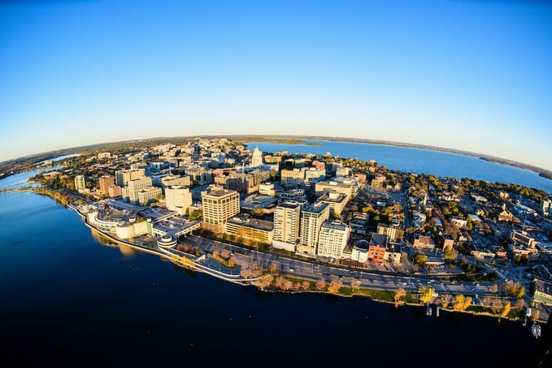 Photo of Madison, which is increasingly being noticed as a hub of tech innovation, inspired in part by UW–Madison technology and graduates. PHOTO: BRYCE RICHTER