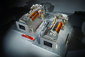 Photo of the Mastcam-Z cameras Dixon helps guide (Photo courtesy of Malin Space Science Systems)