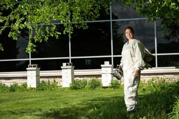 Photo of Mariah Parkin, who led the effort to bring honey bee colonies to the UWO campus.