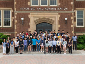 Photo of Upward Bound group. Of the 73 students in the 2020-21 Upward Bound cohort, 16 were seniors who completed the program prepared for higher education in their futures.