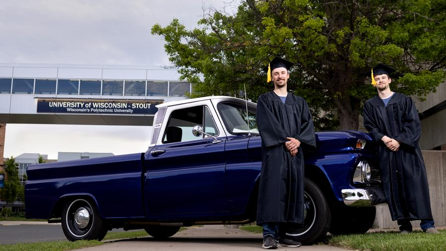 Photo of the Grulkowskis with their remodeled Chevy C10. / UW-Stout
