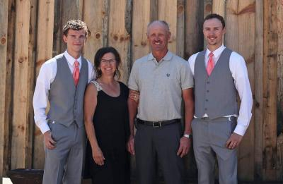 Photo of the Grulkowski family, first-generation graduates, Alex and Andrew Grulkowski, with their parents.