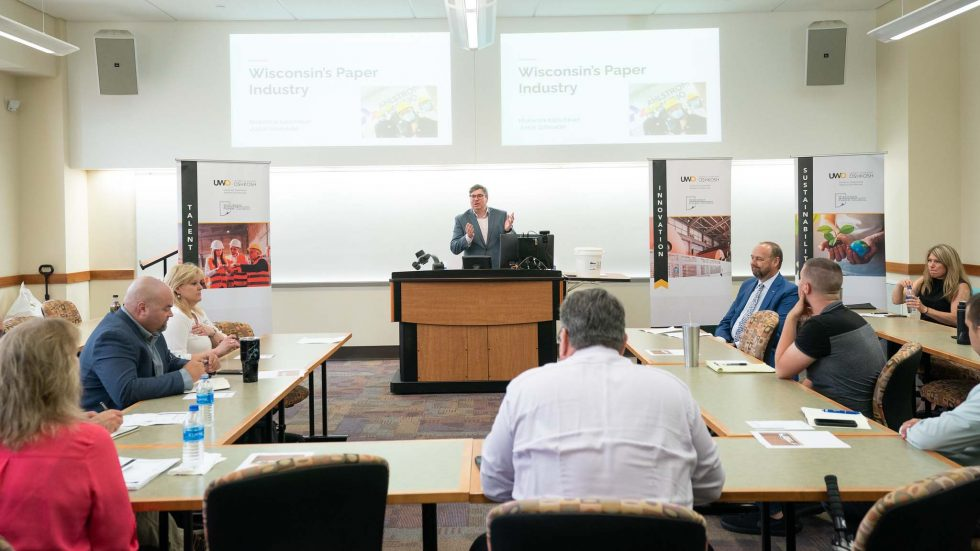 Photo of a stakeholder meeting for a comprehensive workforce development study of Wisconsin's papermaking industry