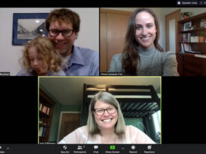 Photo of a Zoom call: The Wisconsin Historical Society is honoring an archive project coordinated by Greg Kocken (upper left), Dr. Cheryl Jiménez Frei (upper right) and Jodi Kiffmeyer (bottom), an initiative that is capturing and preserving COVID-19 stories and artifacts.