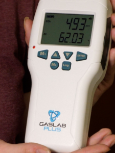 Photo of GasLabPlus CO2 meter, which are being used in this study to quickly measure and record the concentration rates of the gas.