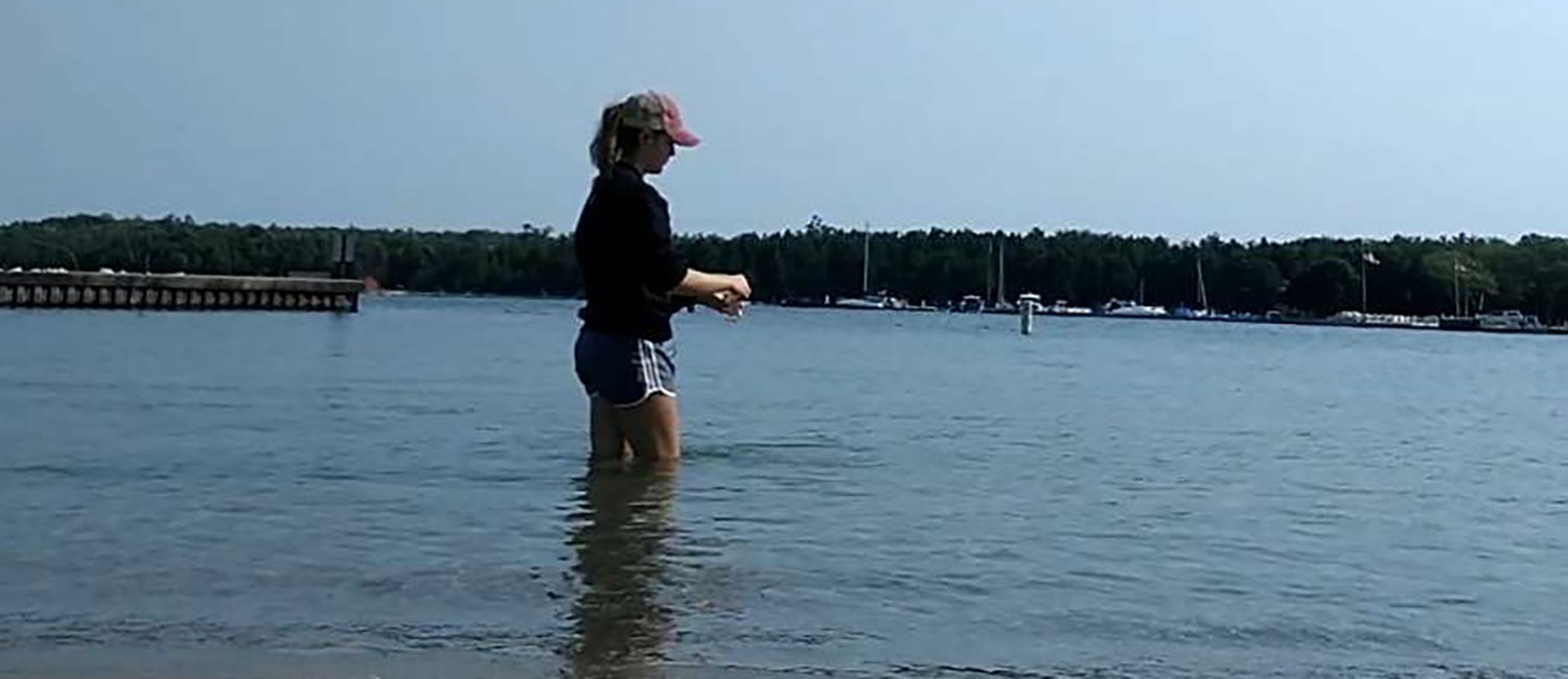 Photo of Britta Larson from UW-Superior, who was one of four students who did field work in Door County.