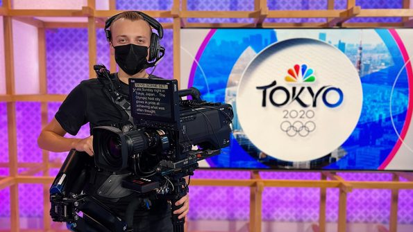 Photo of Kenton Barber '17, who spent more than three weeks in Tokyo working for NBC.
