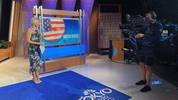 Photo of RTF grad Kenton Barber '17, working in studio during NBC's Olympics coverage.