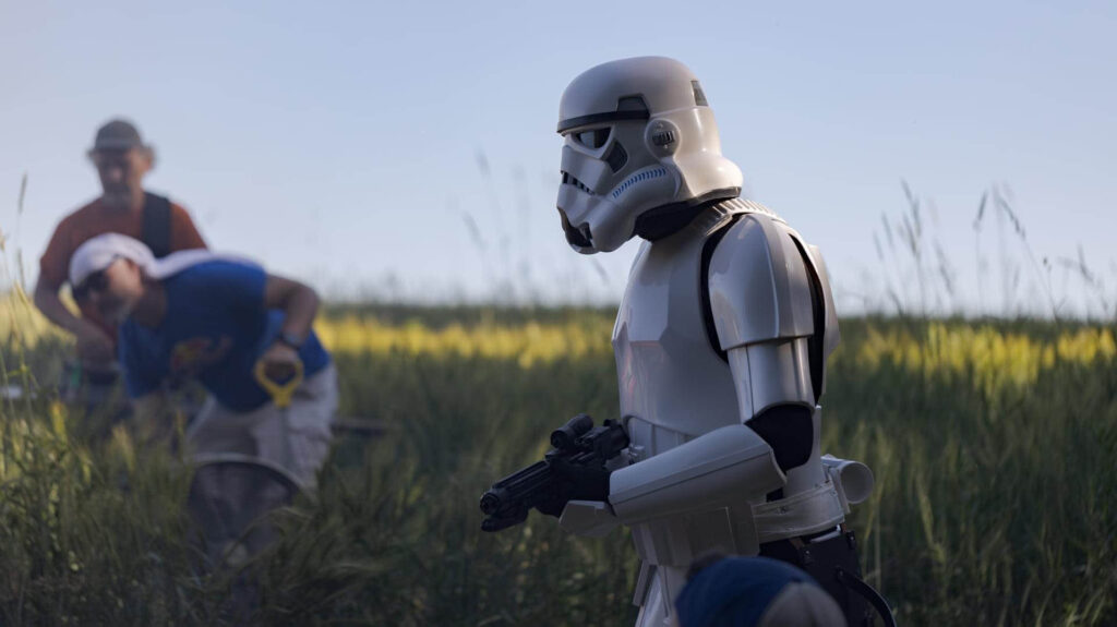"""Photo of a storm trooper being filmed during """"The Legend of Lex Zander,"""" a Make-A-Wish Foundation of Minnesota film that includes animation made by UW-Stout students. Photo courtesy Kari Jo Skogquist"""