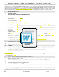 Historic Assessment Form (UW) Template