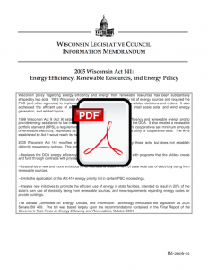 2005 Wisconsin Act 141: Energy Efficiency