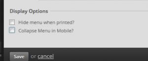 menu display options