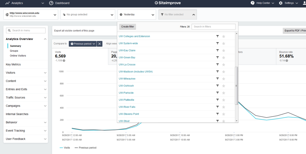 screenshot of using filters in SiteImprove