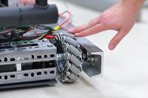 hand touching technical equipment
