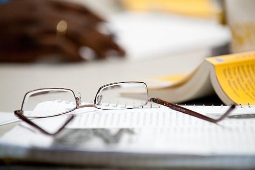 Eye glasses on a book