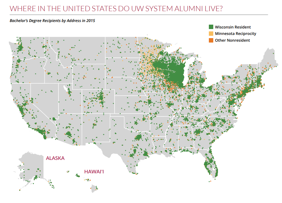 Image of U.S. map showing where UW System alumni live - Bachelors degree recipients by address in 2015
