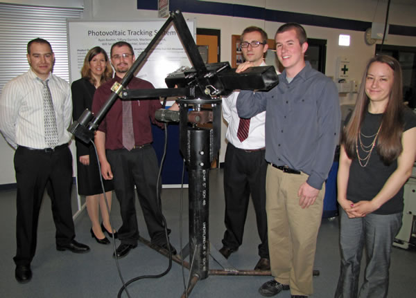 students standing before the Photovoltaic Tracker System