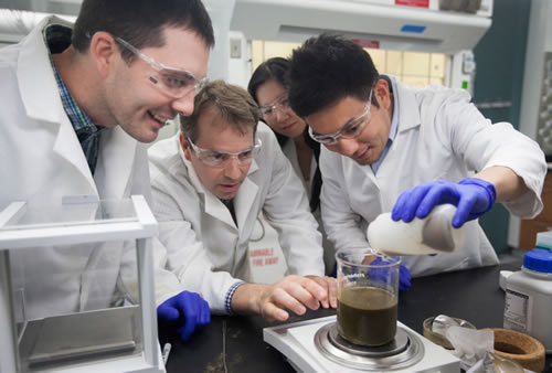 scientists working with beakers in the lab