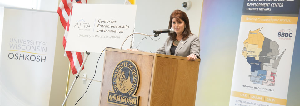 Wisconsin Lt. Governor Rebecca Kleefisch speaks at the unveiling event held on April 30, 2014.