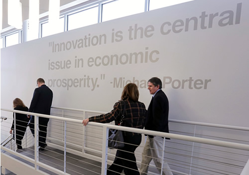 "a picture of the following inspirational quote: ""Innovation is the central issue in economic prosperity."""