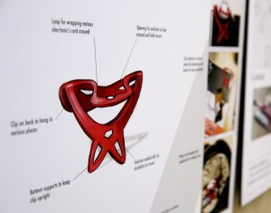 Nick Larson's cord-wrap project is displayed in Micheels Hall