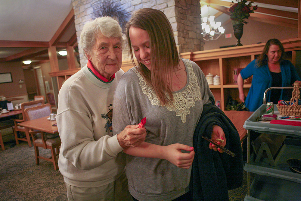 Jeri Schloemer and Amber Mussomeli at the Nursing Home