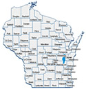 Wisconsin map by county