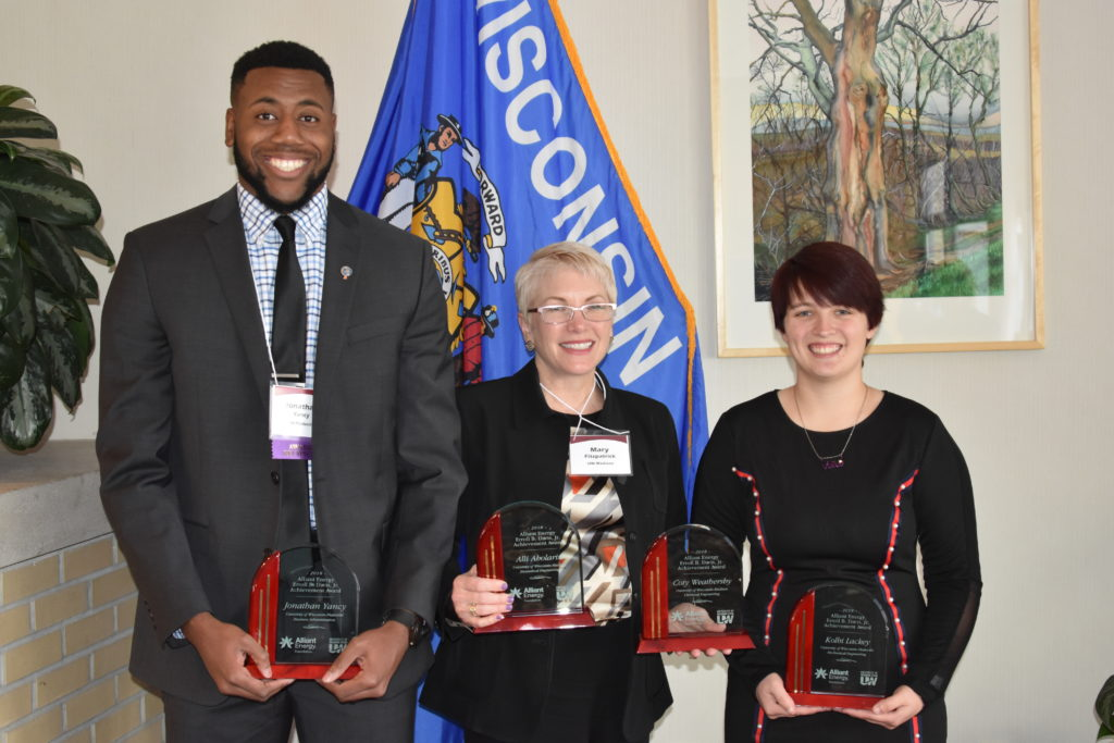 From left: Jonathan Yancy, Mary Fitzpatrick (Accepting awards on behalf of Alli Abolarin and Coty Weathersby), Kolbi Lackey