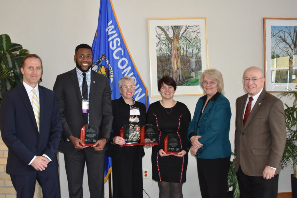 Erroll B. Davis, Jr. Award Recipients; from left: Robert Durian, Jonathan Yancy, Mary Fitzpatrick (Accepting awards for Alli Abolarin and Coty Weathersby), Kolbi Lackey, Karen Schmitt, Ray Cross
