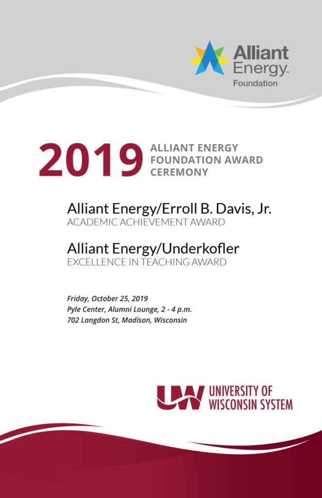 2019 Alliant Energy Foundation Award Poster