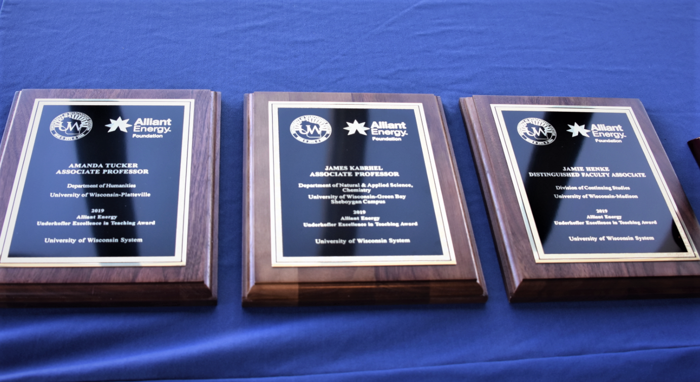 Three Underkofler Award plaques