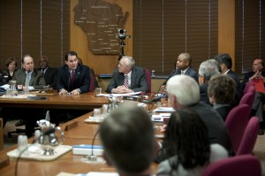 Governor-elect Scott Walker (second from left) addressing the Board of Regents
