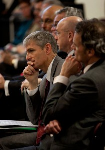 UW-Milwaukee Interim  Chancellor Mike Lovell  listens to discussions at the  Board of Regents meeting at  UW-Platteville