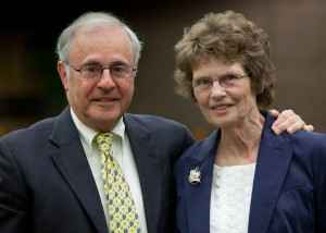 Regent President Emeritus Michael Spector and Regent Emerita Judith Crain were honored at the June Board of Regents meeting hosted by UWM.