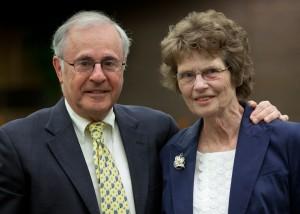 Regent President Emeritus Michael Spector and Regent Emerita Judith Crain were honored at the June Board of Regents meeting hosted by UWM.