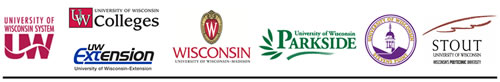 Logos for UW System, UW Colleges, UW-Extension, UW-Madison, UW-Parkside, UW-Stevens Point, and UW-Stout
