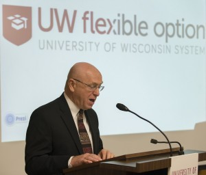 Photo of Chancellor Cross presenting on the UW Flexible Option