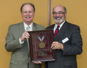 Photo of outgoing President Reilly with Regent President Falbo