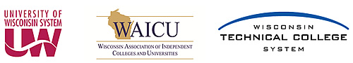 Logos for UW System, WAICU, and WTCS