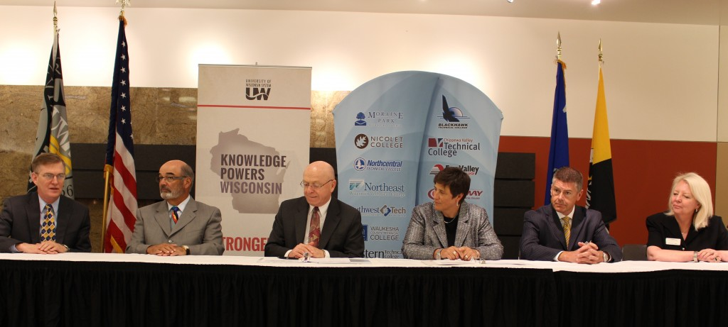 (from left) Mark Nook, Michael Falbo, and Ray Cross of UW System; Morna Foy, Drew Petersen, and Kathleen Cullen of WTCS