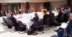 The Board of Regents convening in UW-Superior's Rothwell Student Center