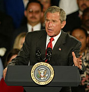 President Bush makes a point during his remarks at UWM.