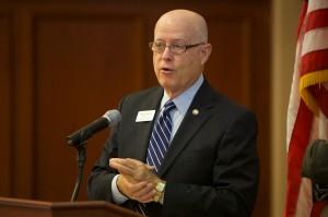 Chancellor Bernie Patterson addresses the Board.