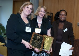 (from left) Dr. Kitrina Carlson and Dr. Rebecca Abler -- recipients of Board of Regents' 2009 Diversity Award, Team Category -- with Regent Betty Womack (far right)