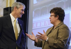 UW-Madison Chancellor Martin converses with UW-Milwaukee Interim Chancellor Lovell.