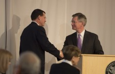 Regent Bradley (right) thanks Chancellor Van Galen and the UW-River Falls campus for hosting the meeting