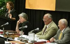 Members of the Board of Regents smile